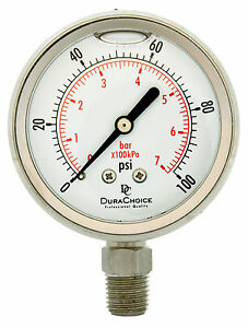 "2-1/2"" All Stainless Steel Oil Filled Pressure Gauge 1/4"" NPT Lower Mount 100PSI"