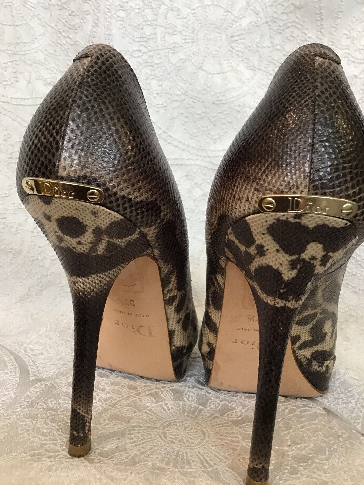 Christian Dior chaussures Water Snake Peep Toe Pump Front Front Front Platform Taille 37 1 2 873341
