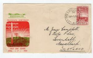 Australie: 1954 Telegraph Centenaire First Day Cover (c36301)-afficher Le Titre D'origine