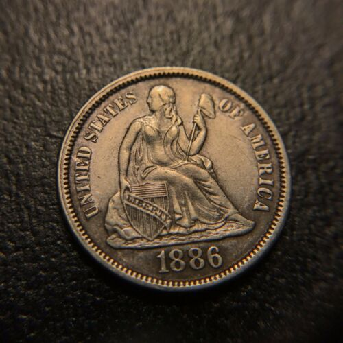 1886 P Liberty Seated One Dime Uncirculated AU UNC BU Silver Type Toning 10c