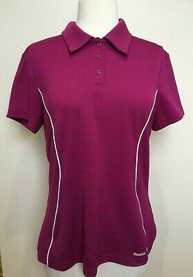 REEBOK PlayDry Womens Magenta Pink White Trimmed Collared Polo Fitted T Shirt XL   eBay