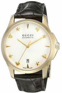 ad330731ac3 Gucci G Timeless Silver Dial YG PVD Leather Auto Women Watch ...