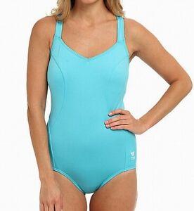 TYR-Women-039-s-Swimwear-Blue-Size-16-One-Piece-Solid-Controlfit-Swimsuit-74-012