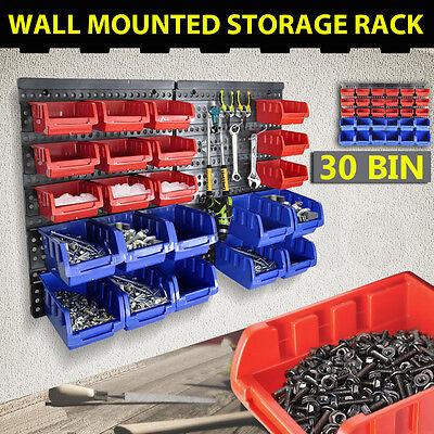 30 Bins Garage Workshop Wall Mounted Tool Box Small Parts Storage Organiser Rack