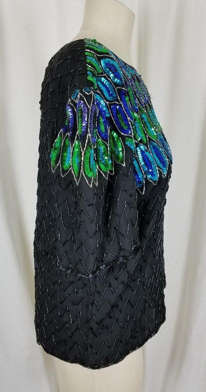 Stenay Abbondantemente Perline con Paillettes Sera Formale Top Camicetta Donna Donna Donna L 36432e