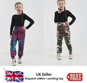Girls-Childrens-Printed-Harem-Trousers-Pants-Kids-Leggings-Army-amp-Multi-Leopard