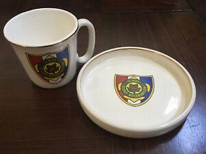 VINTAGE-Schiff-Scout-Reservation-BSA-Porcelain-Mug-with-Plate-Historic-Logo-VG