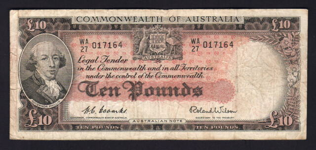 Australia R-62. (1954) 10 Pounds.. Coombs/Wilson - Commonwealth Bank.. Fine