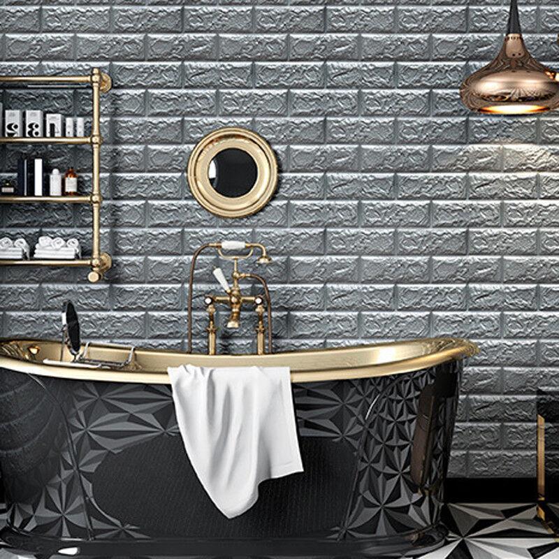Home Decoration - 20pcs Self-Adhesive 3D PE Foam Brick Home Wall Sticker Wallpaper Panels Decor UK
