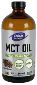NOW Foods Chocolate Mocha MCT oil 16oz Coconut Oil Essential Fatty Acids 03/21EX