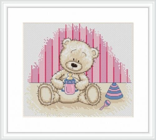 Bruno The Bear Baby Bianca Cross Stitch Kit Ideal For Birth Sampler