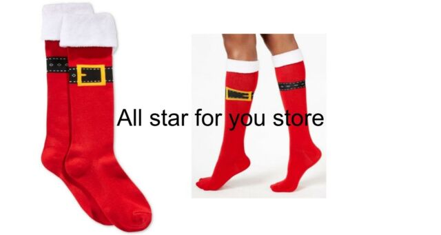 f7ca4f34d Charter Club women s Santa Buckle Up Knee High Socks Red ONE SIZE