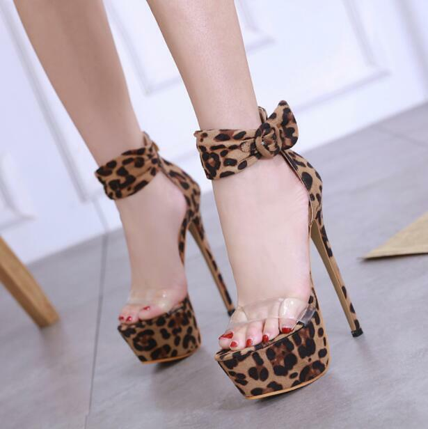 Womens Sexy Peep Toe Ankle Strap Sandals Leopard Print Slim High Heels Shoes ddd