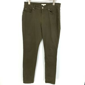 Eileen-Fisher-Womens-Size-8-Olive-Green-Organic-Cotton-Skinny-Ankle-Jeans-Pants