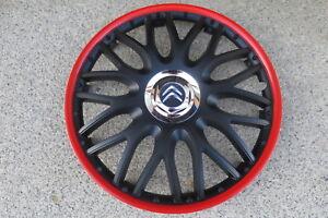 4 Alu-Design Radkappen 16 Zoll Orden black roter Rand  für Citroen