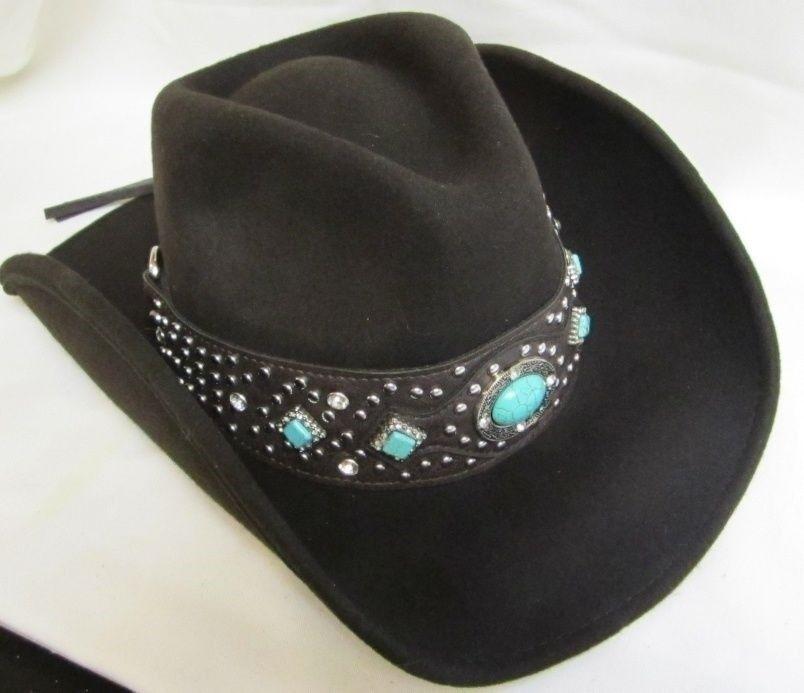 Western Cowgirl Hat Felt Montana Montana Felt West Ladies - Small Nuovo - marrone w/Bling - 9011 86f650