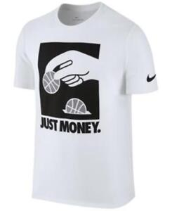 Details about Nike Just Money Graphic Print Dri Fit T Shirt White Mens Large New