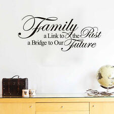 FAMILY IS A LINK TO THE PAST Quote Wall Sticker Removable Saying Decal For Home