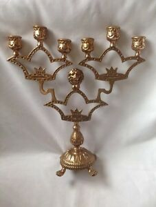 BEAUTIFUL-SOLID-BRASS-CANDLESTICKS-WITH-6-ARMS-amp-LIONS-LEGS