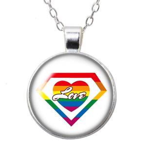 Regenbogen-Anhaenger-mit-Kette-LGBT-Lesbisch-Gay-Homo-Rainbow-Schmuck-Pride