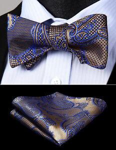 Paisley-Brown-Blue-Men-Woven-Silk-Self-Bow-Tie-Wedding-Pocket-Square-Set-BP947ZS
