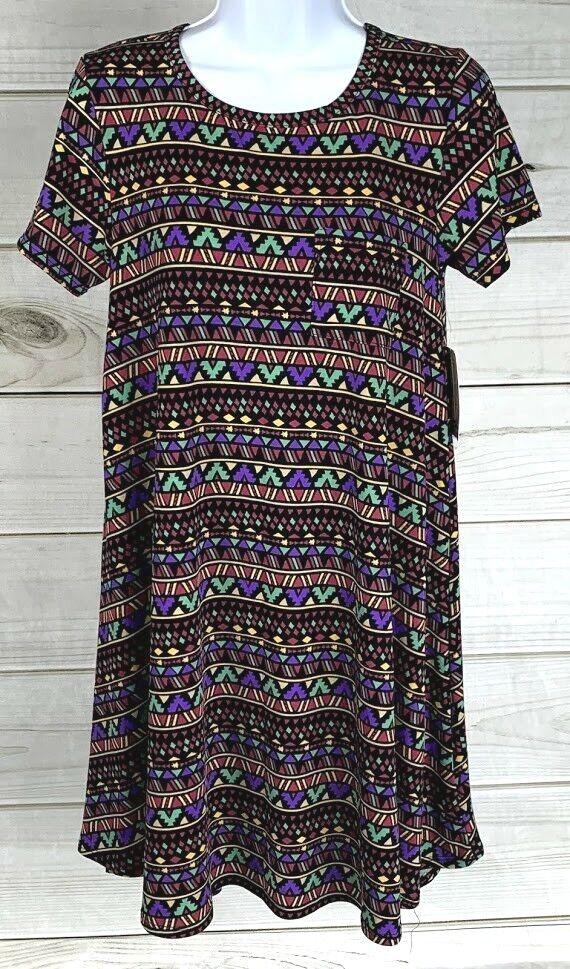 New LuLaRoe Women's Carly Dress Multicolor Short Sleeve Sz XXS Unicorn NWT A2218