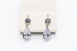 Echt-925-Sterling-Silber-Ohrringe-Ohrstecker-Zirkonia-crystal-Tropfen-Nr-239