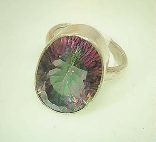 15 Mm 925 Ster Argent 13mmX19mm 19.24Cts OVAL CUT fire rainbow Mystic Topaz Ring