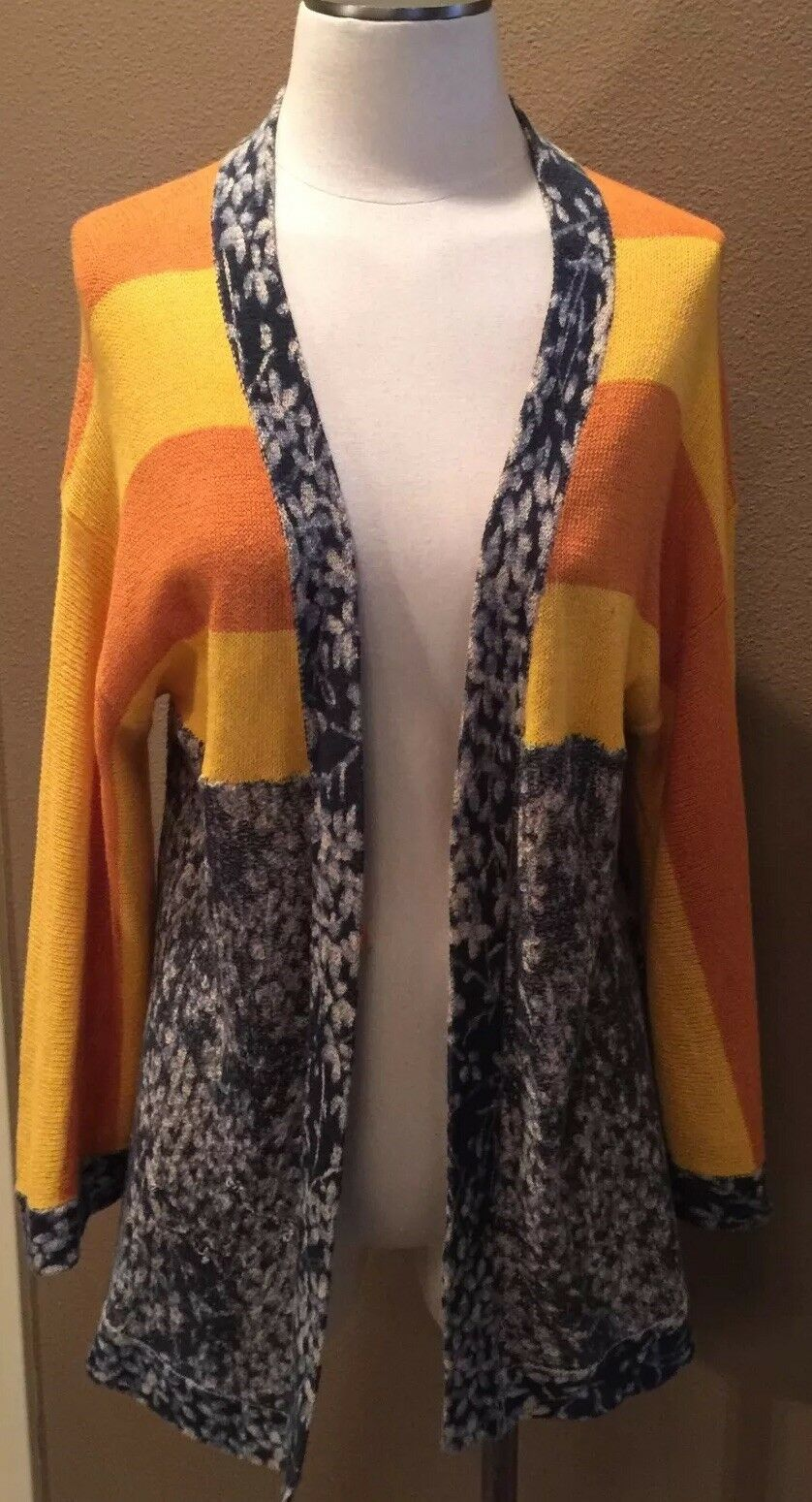 ANTHROPOLOGIE MAPLE S CARDIGAN SWEATER NAVY MUSTARD 3 4 FLARE SLEEVES FABULOUS