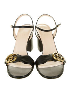 100-authentic-GUCCI-leather-gg-marmont-strappy-sandals-black-gold-logo-37-5