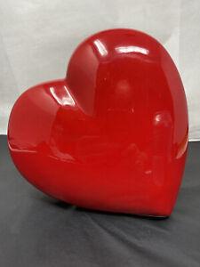 Vintage 1984 Loma Pottery Red Ceramic Hart Vase 80's
