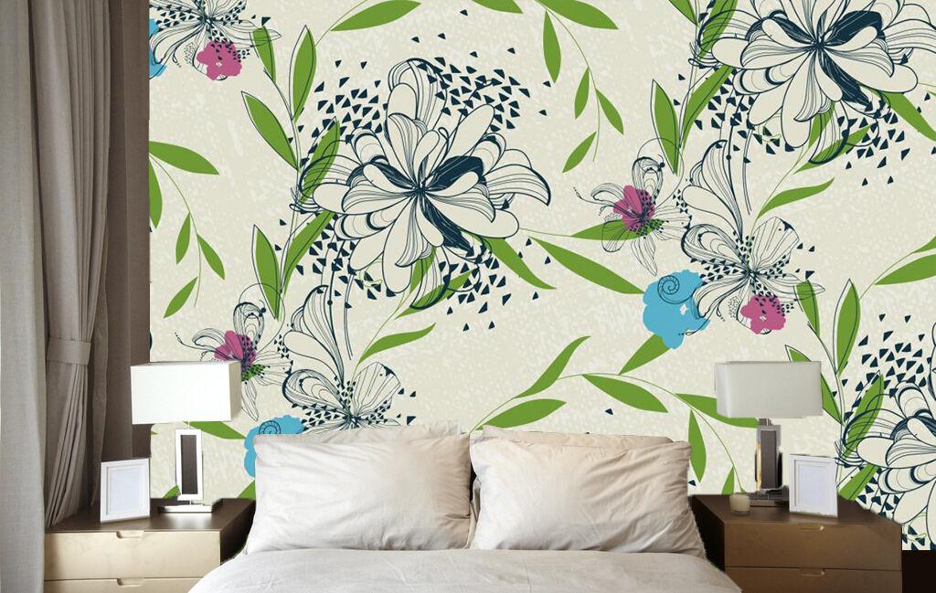 3D Saule Fleur 065 Photo Papier Peint en Autocollant Murale Plafond Chambre Art