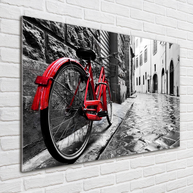 Wandbild aus Plexiglas® Druck auf Acryl 100x70 Fahrzeuge Rotes Fahrrad