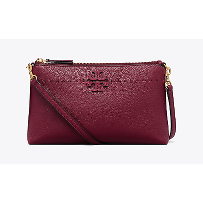 NWT Tory Burch Leather McGraw Top Zip Cross-Body Handbag Clutch Imperial Garnet