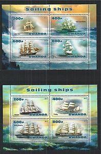RWANDA-2013-SAILING-SHIPS-2X-MINI-SHEET-MNH
