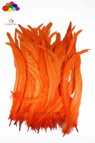 100 Stk wunderschön natürlich Kücken shwanz Feder 10-18inch//25-45cm orange