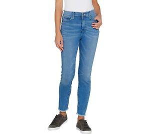 Isaac-Mizrahi-Women-039-s-Tall-TRUE-DENIM-Frayed-Hem-Ankle-Jeans-Indigo-16T-Size-QVC