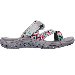 Women's Skechers SIG SWAY 48228GRY Grey Slip-On Slide Athletic Sandal Shoes