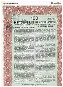Republik-Osterreich-Wien-1926-100-franzoesische-Franken-issued-cancelled