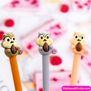 2x Cute Squirrel Family Gel Pens ~ Kawaii Squirrel Pen Funny Animals Stationery