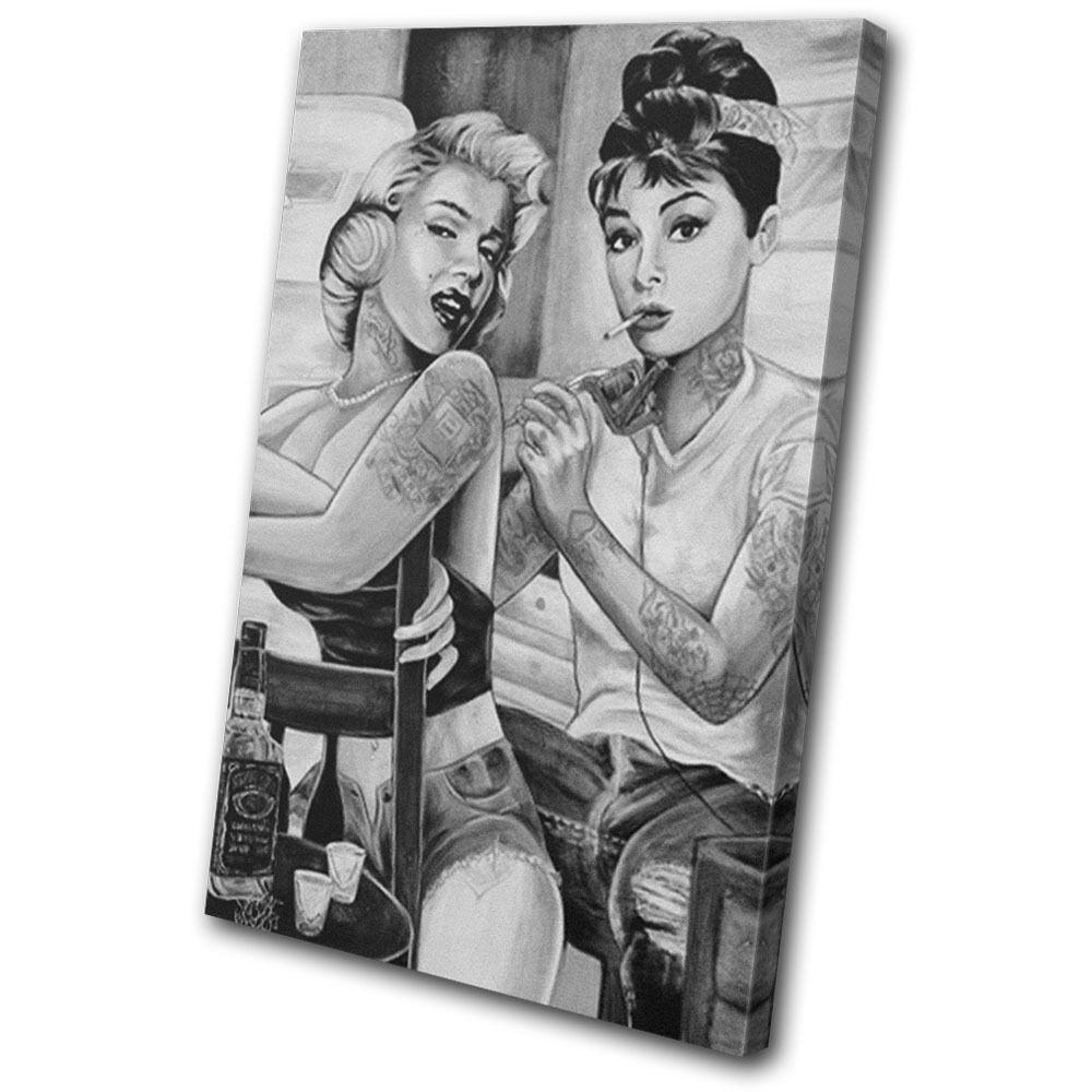 Vintage Monroe Hepburn Tattoo  SINGLE Leinwand Wand Kunst Bild drucken