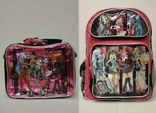 "Monster High Large 16"" Backpack & Insulated Lunch Bag - Pink with List of Atoms"