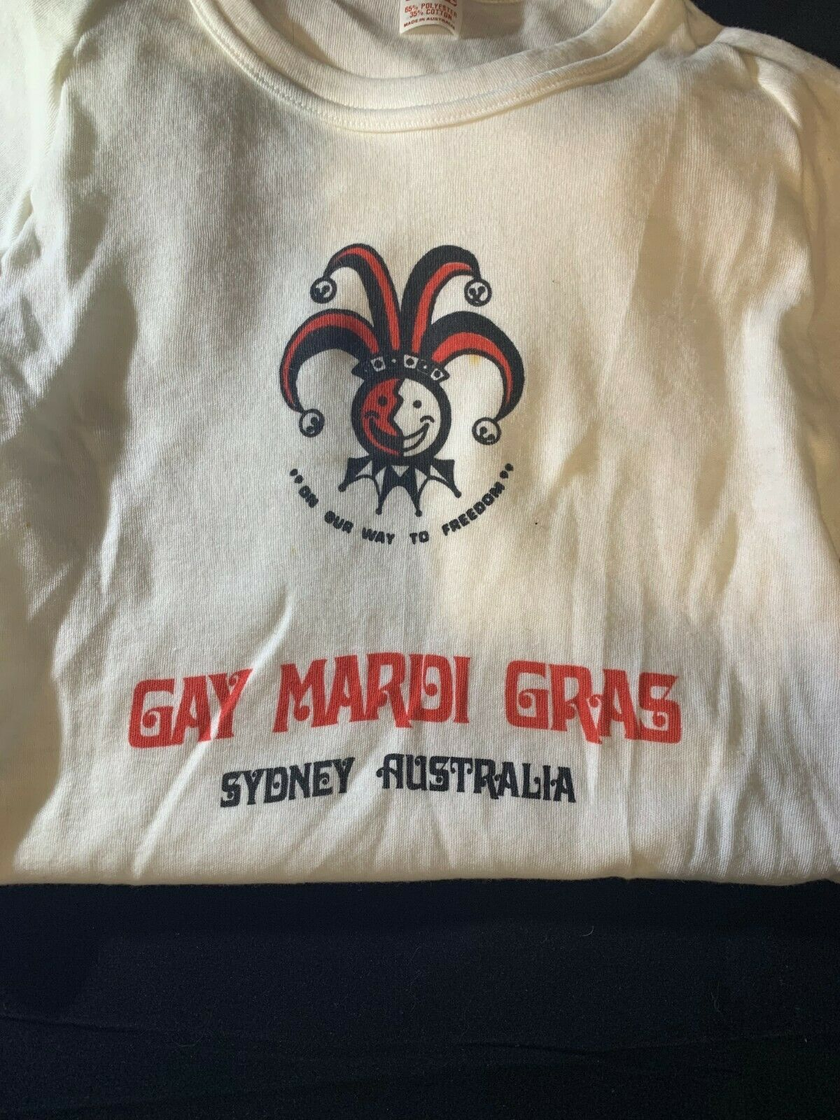 1982 Sydney Mardi Gras t-shirts, On Our Way To Freedom, gay, LGBT, queer vintage