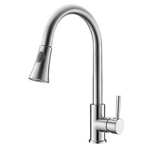 Brushed-Nickel-Kitchen-Sink-Faucet-Pull-Out-Sprayer-Single-Hole-Swivel-Mixer-Tap