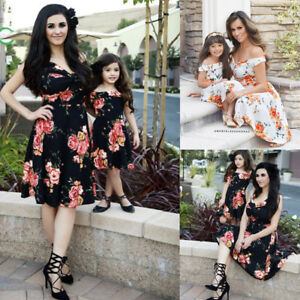 ec90ef718ac8a Details about Fashion Women Mother Daughter Matching Dresses Summer Girl  Dress Clothes Outfits