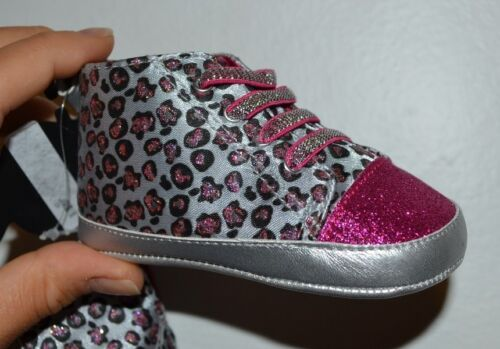 Cheetah Leopard Print Pink Glitter Baby Shoes Glam Booties Soft Slip on Sneakers