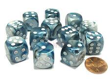 DICE Chessex Lustrous SLATE GREY 12d6 d6 Block Set Shiny Gray Blue 27690