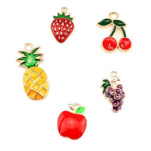 10PCS-Luz-Oro-Esmalte-Colgante-Joyeria-encontrar-haciendo-de-la-serie-de-fruta