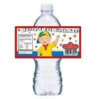 20 Caillou Personalized Birthday Party Favors Water Bottle Labels Wrappers