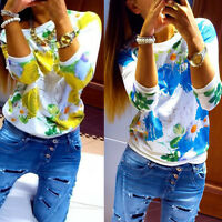 Womens Long Sleeve Floral Top Blouse Shirt Sweater Jumper Pullover Sweatshirt